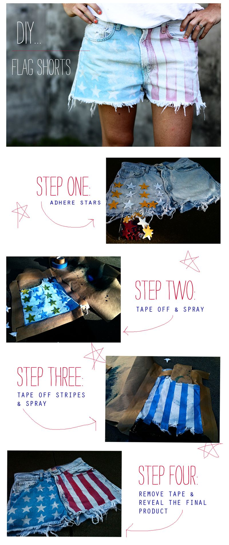 DIY American Flag Shorts Tutorial