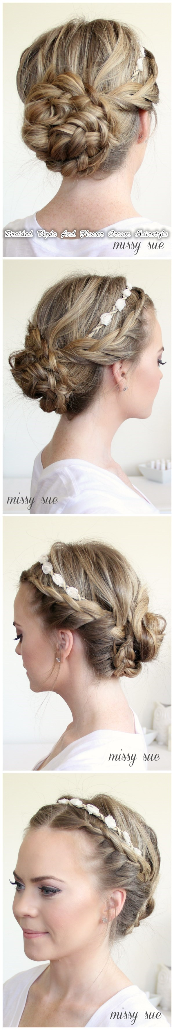 Braided updo and flower crown hairstyle hot diy tutorial braided updo and flower crown hairstyle izmirmasajfo