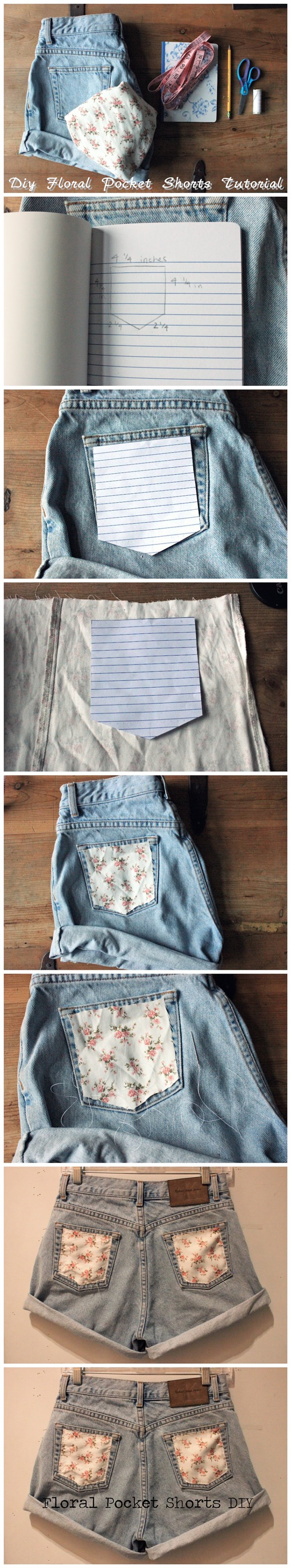 Diy Floral Pocket Shorts Tutorial