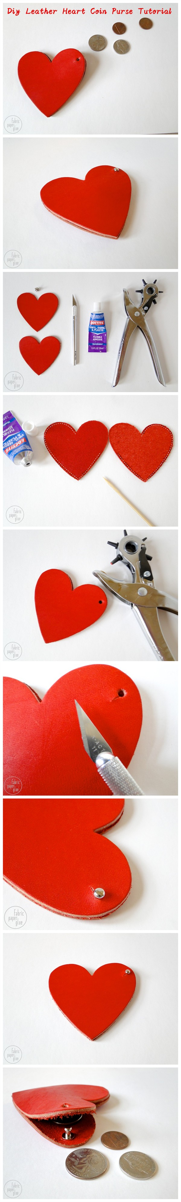 Diy Leather Heart Coin Purse Tutorial