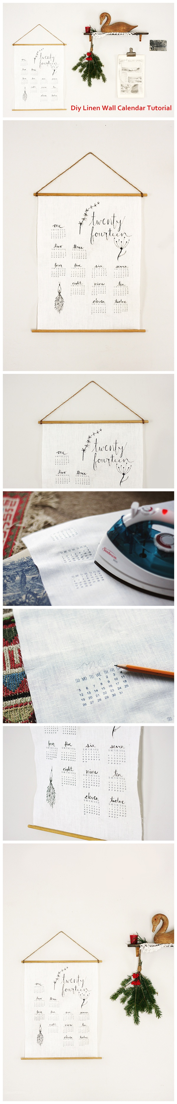 Diy Linen Wall Calendar Tutorial