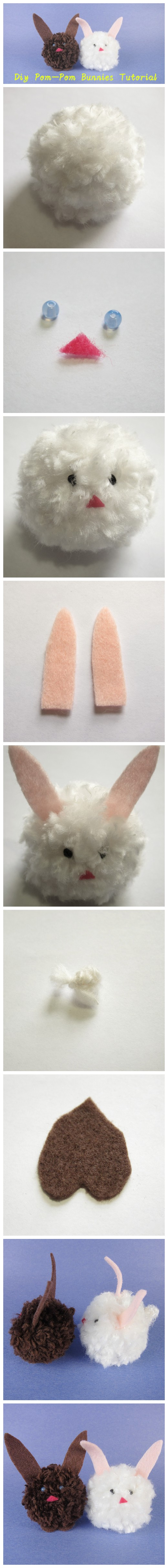 Diy Pom-Pom Bunnies Tutorial