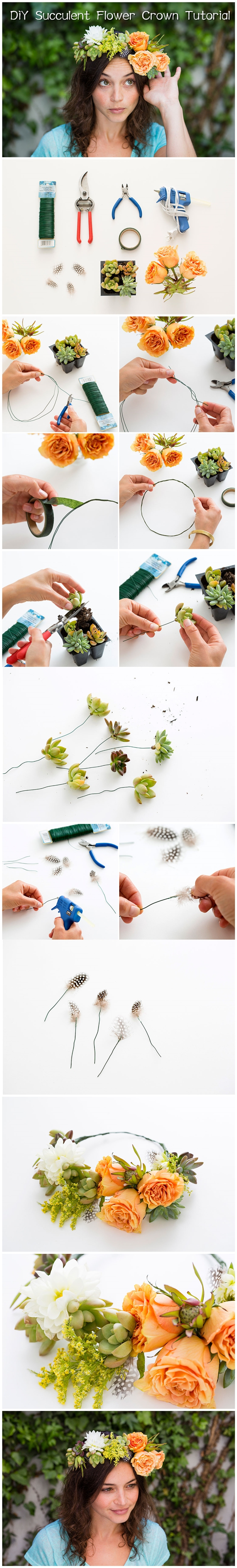 DiY Succulent Flower Crown Tutorial