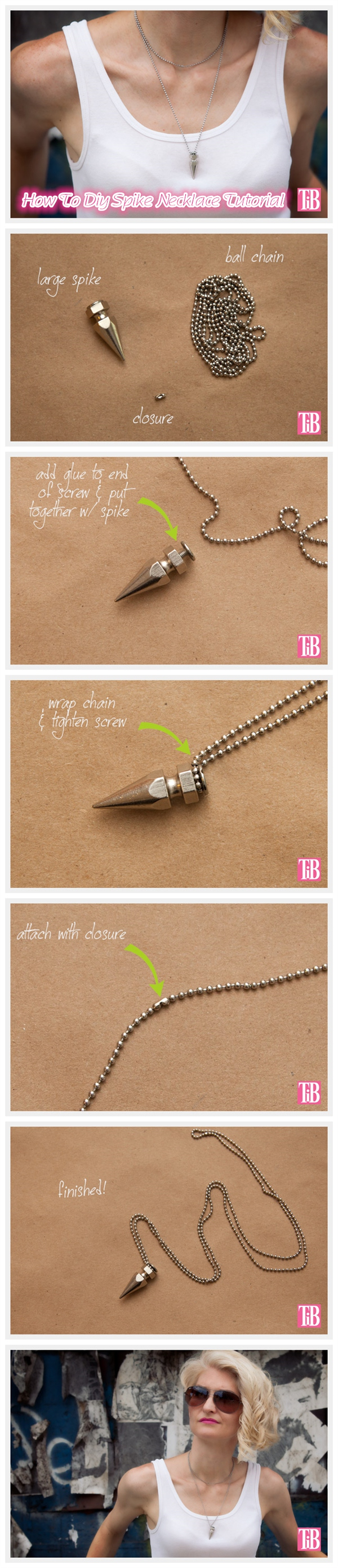 How To Diy Spike Necklace Tutorial