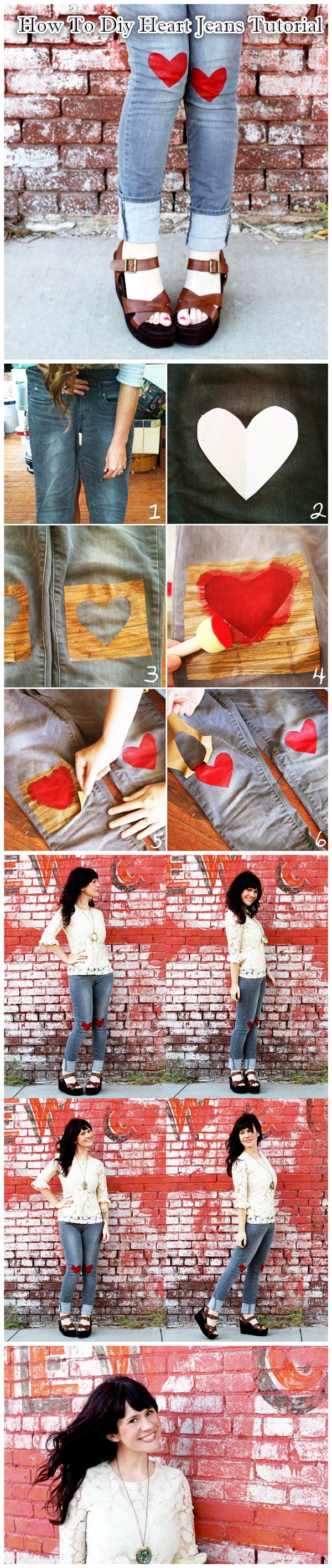 How To Diy Heart Jeans Tutorial