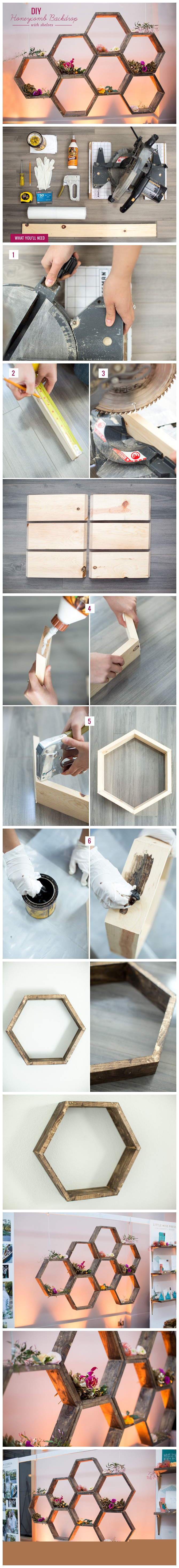 Diy HoneyComb Backdrop With Shelves Tutorial