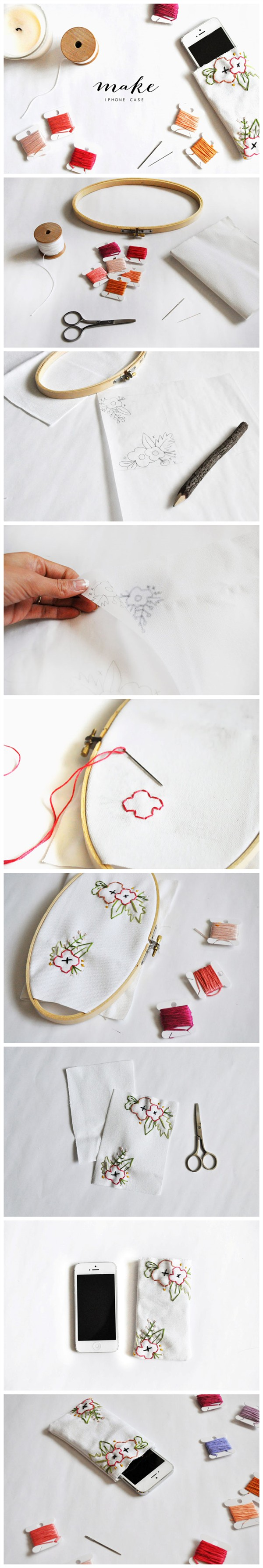Diy Embroidered Floral Iphone Case