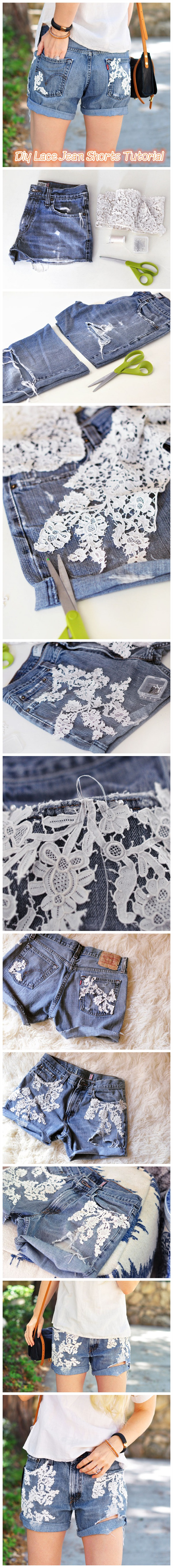 Diy Lace Jean Shorts Tutorial