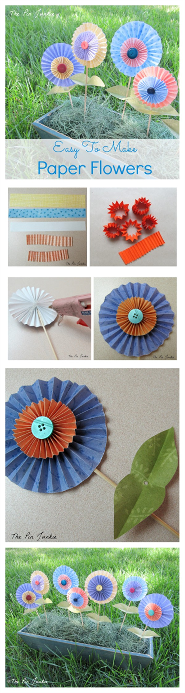Easy to Make Folded Paper Flowers Tutorial